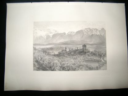 E. P. Branard after Alfred Hunt 1885 Steel Engraving. Thun, Switzerland | Albion Prints